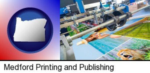 a press run on an offset printer in Medford, OR