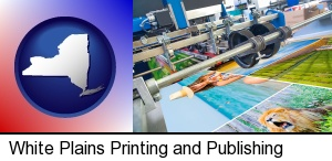 a press run on an offset printer in White Plains, NY
