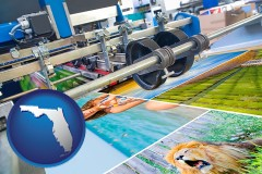 a press run on an offset printer - with Florida icon
