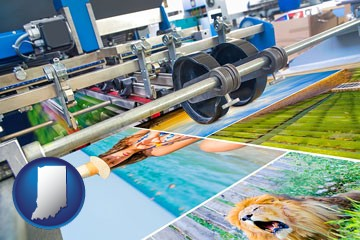 a press run on an offset printer - with Indiana icon