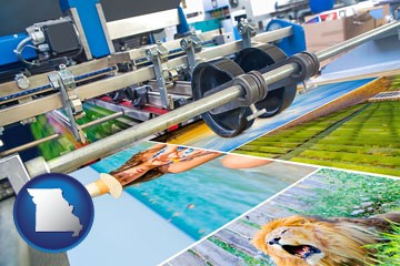a press run on an offset printer - with Missouri icon