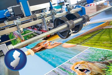 a press run on an offset printer - with New Jersey icon