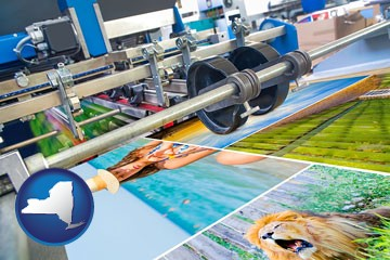 a press run on an offset printer - with New York icon