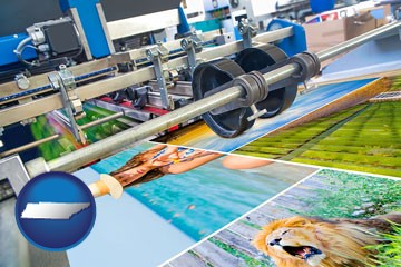 a press run on an offset printer - with Tennessee icon