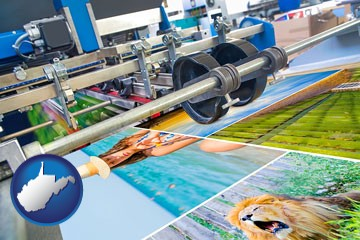 a press run on an offset printer - with West Virginia icon
