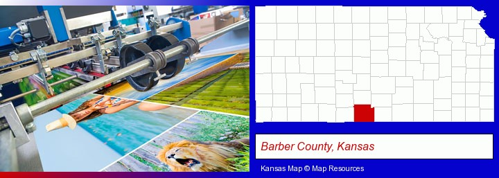 a press run on an offset printer; Barber County, Kansas highlighted in red on a map