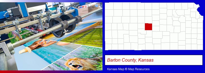 a press run on an offset printer; Barton County, Kansas highlighted in red on a map