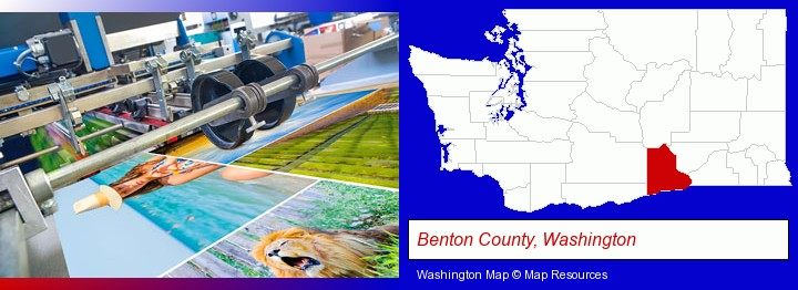 a press run on an offset printer; Benton County, Washington highlighted in red on a map