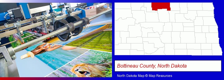 a press run on an offset printer; Bottineau County, North Dakota highlighted in red on a map