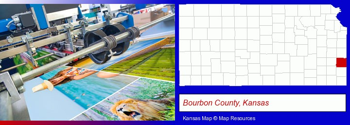 a press run on an offset printer; Bourbon County, Kansas highlighted in red on a map