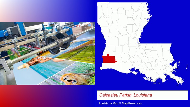 a press run on an offset printer; Calcasieu Parish, Louisiana highlighted in red on a map