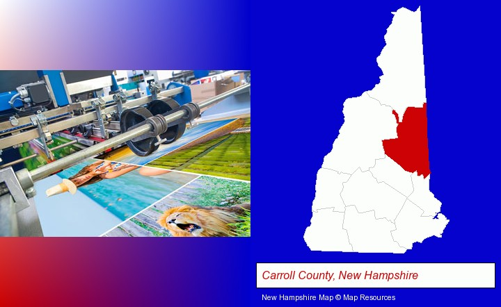 a press run on an offset printer; Carroll County, New Hampshire highlighted in red on a map