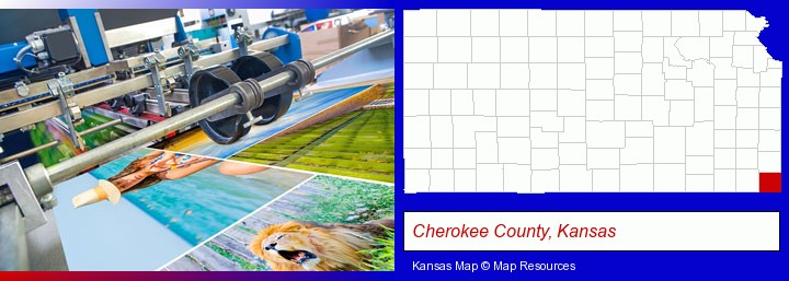 a press run on an offset printer; Cherokee County, Kansas highlighted in red on a map