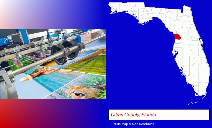 a press run on an offset printer; Citrus County, Florida highlighted in red on a map