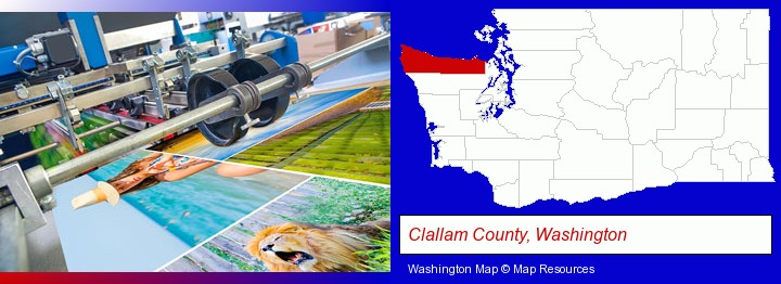 a press run on an offset printer; Clallam County, Washington highlighted in red on a map