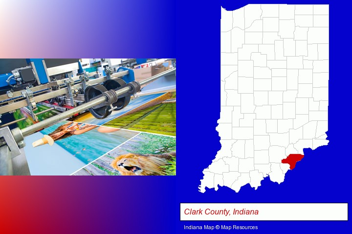 a press run on an offset printer; Clark County, Indiana highlighted in red on a map