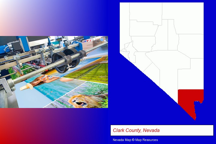 a press run on an offset printer; Clark County, Nevada highlighted in red on a map