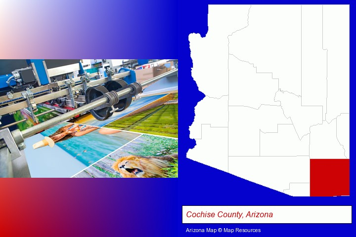 a press run on an offset printer; Cochise County, Arizona highlighted in red on a map
