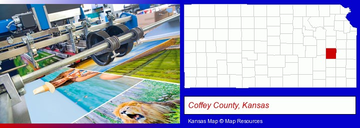 a press run on an offset printer; Coffey County, Kansas highlighted in red on a map