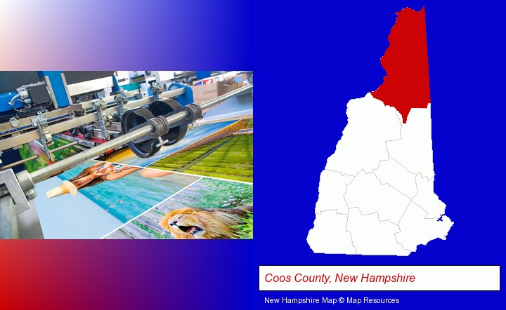 a press run on an offset printer; Coos County, New Hampshire highlighted in red on a map