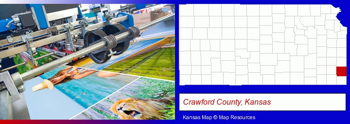 a press run on an offset printer; Crawford County, Kansas highlighted in red on a map