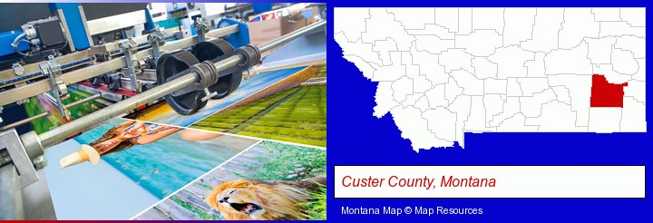 a press run on an offset printer; Custer County, Montana highlighted in red on a map