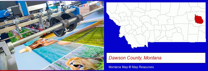 a press run on an offset printer; Dawson County, Montana highlighted in red on a map