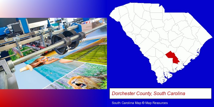 a press run on an offset printer; Dorchester County, South Carolina highlighted in red on a map