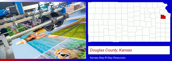 a press run on an offset printer; Douglas County, Kansas highlighted in red on a map