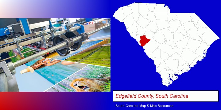 a press run on an offset printer; Edgefield County, South Carolina highlighted in red on a map