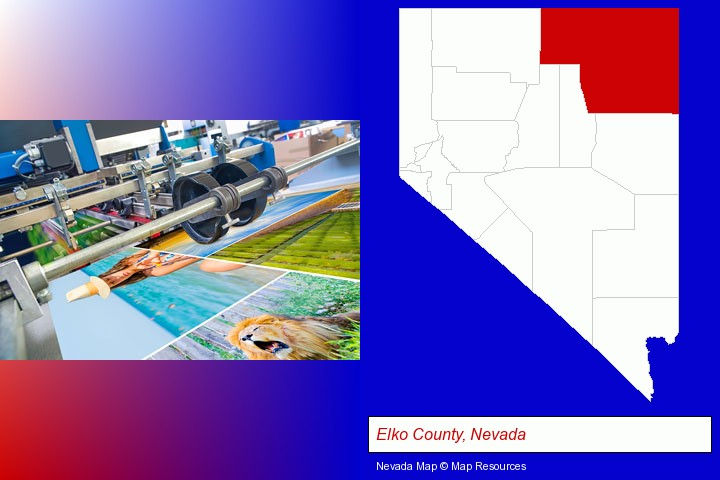 a press run on an offset printer; Elko County, Nevada highlighted in red on a map