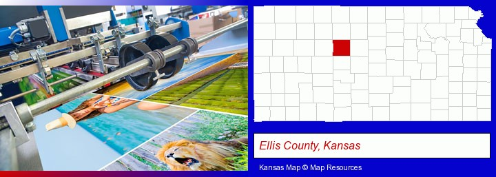 a press run on an offset printer; Ellis County, Kansas highlighted in red on a map