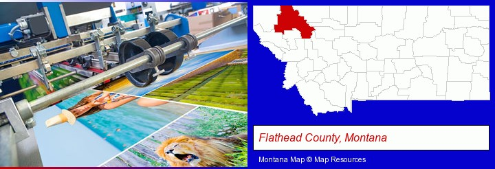 a press run on an offset printer; Flathead County, Montana highlighted in red on a map