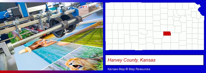 a press run on an offset printer; Harvey County, Kansas highlighted in red on a map