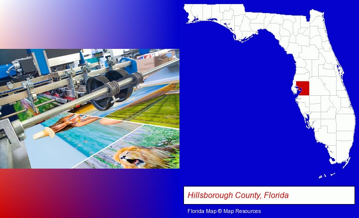 a press run on an offset printer; Hillsborough County, Florida highlighted in red on a map