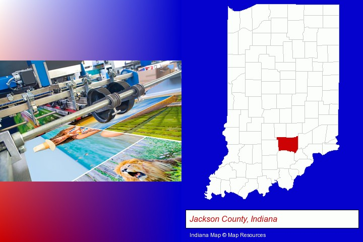 a press run on an offset printer; Jackson County, Indiana highlighted in red on a map