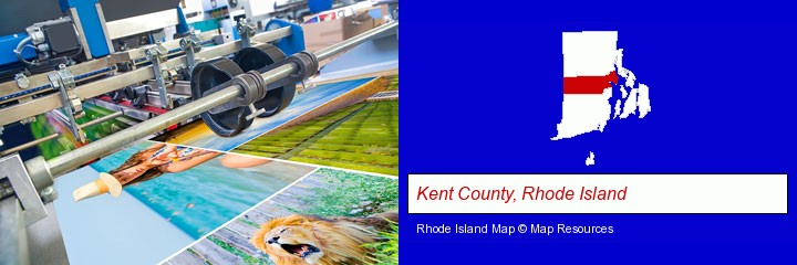 a press run on an offset printer; Kent County, Rhode Island highlighted in red on a map
