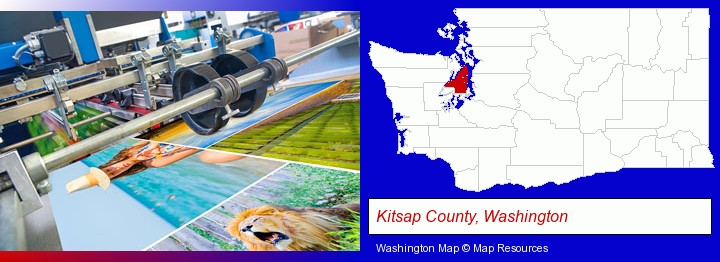 a press run on an offset printer; Kitsap County, Washington highlighted in red on a map