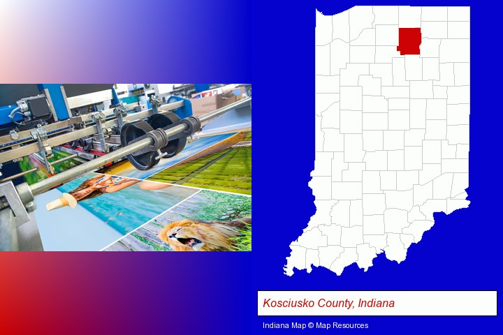 a press run on an offset printer; Kosciusko County, Indiana highlighted in red on a map
