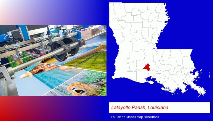 a press run on an offset printer; Lafayette Parish, Louisiana highlighted in red on a map