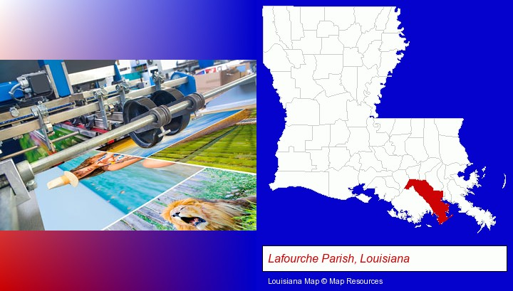 a press run on an offset printer; Lafourche Parish, Louisiana highlighted in red on a map