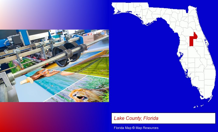 a press run on an offset printer; Lake County, Florida highlighted in red on a map
