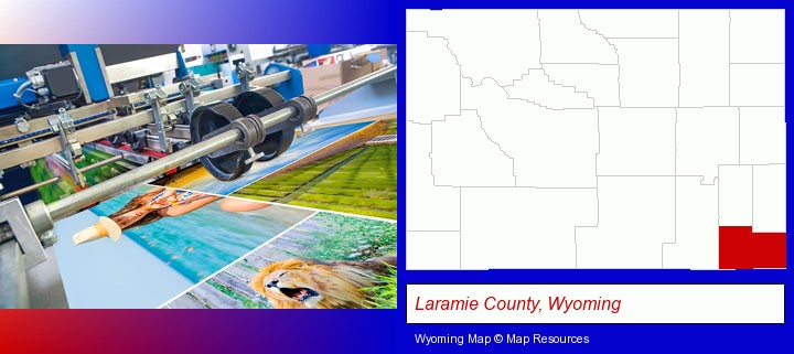 a press run on an offset printer; Laramie County, Wyoming highlighted in red on a map
