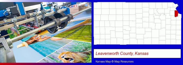 a press run on an offset printer; Leavenworth County, Kansas highlighted in red on a map
