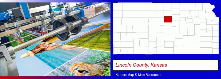 a press run on an offset printer; Lincoln County, Kansas highlighted in red on a map