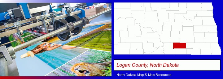 a press run on an offset printer; Logan County, North Dakota highlighted in red on a map