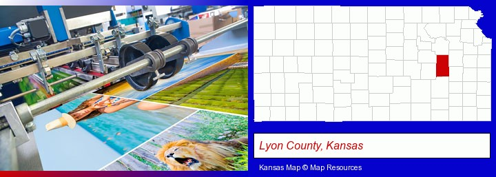 a press run on an offset printer; Lyon County, Kansas highlighted in red on a map