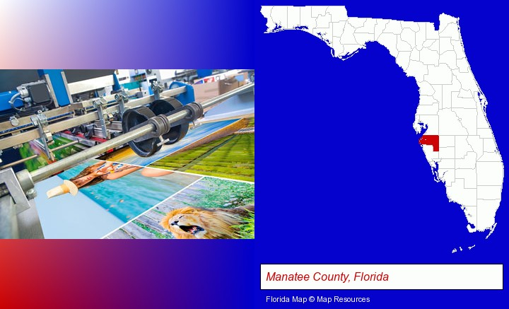 a press run on an offset printer; Manatee County, Florida highlighted in red on a map