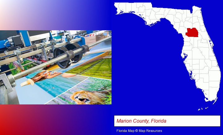 a press run on an offset printer; Marion County, Florida highlighted in red on a map