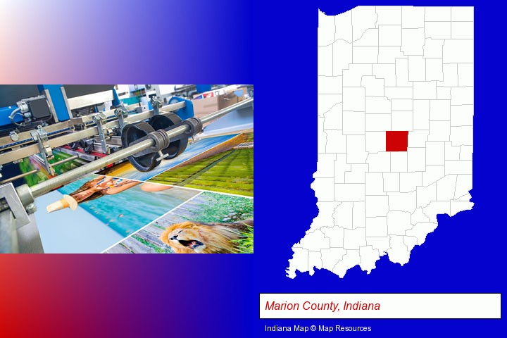 a press run on an offset printer; Marion County, Indiana highlighted in red on a map